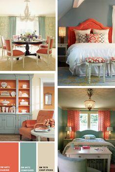 Coral and Aqua Rooms via Interiors by Studio M