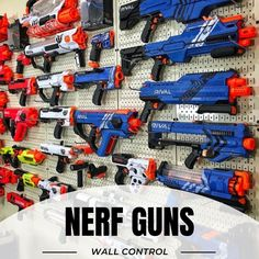 Example pegboard Nerf Walls that will blow you away! Modified Nerf Guns, Nerf Gun Storage, Pistola Nerf, Pegboard Display, Nerf Toys, Nerf War, Baby Boy Rooms, Toys For Boys, Wall
