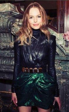 Kate Bosworth in emerald & black Balmain