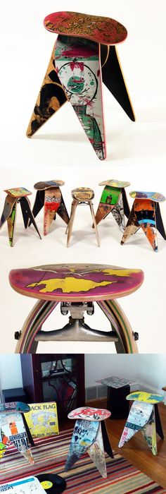 Recycled Skakeboard Stool by Deckstool #productdesign #furnituredesign