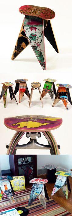 Recycled Skakeboard Stool by Deckstool #productdesign #furnituredesign