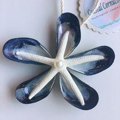 Seashell Beach Christmas Ornament, Blue Mussel Shell Ornament, Starfish Ornament, Coastal Ornament, Nautical Ornament by CoastalCornucopia on Etsy https://www.etsy.com/listing/478274744/seashell-beach-christmas-ornament-blue