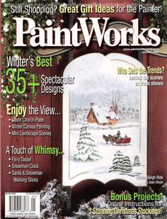 paint work - Jacqueline Buriche - Picasa Web Albums...FREE MAGAZINE!! One Stroke Painting, Tole Painting, Fabric Painting, Painting On Wood, Painting & Drawing, Watercolor Paintings, Acrylic Paintings, Pintura Tole, Winter Painting