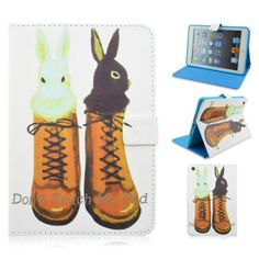 Cute Love Animal Rabbit Shoes Folio Stand Leather Case For Apple iPad Mini 1/2/3