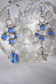 Adorable Blue Fish and Silver Starfish Charms by byFoxdenCreations, $23.20