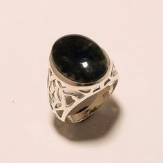 STAMP 925 SOLID STERLING SILVER MOSS AGATE RING SZ 7 ,  6 GRM