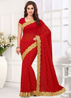 Buy Red Georgette Saree online from the wide collection of saree. This Red colored saree in Faux Georgette fabric goes well with any occasion. Shop online Designer saree from cbazaar at the lowest price.