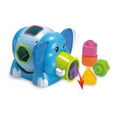 Elefantino piezas de encaje. - Miniland Al presionar las orejas el elefante expulsa las figuras por la trompa. Al girar la cola del elefante, también gira el cuerpo y permite elegir la figura que se desee encajar. Mientras, se producirá un simpático sonido de carraca. Mas Info: http://www.petchibebe.com/shopping/products/29-12-24-Meses/78-Elefantino-piezas-de-encaje---Miniland/