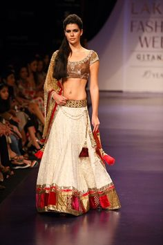 Off white and golden lehenga