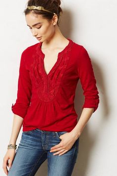 ANTHROPOLOGIE ANSONIA PULLOVER BY MEADOW RUE RED WOMENS TOP SHIRT BLOUSE sz S #MeadowRue #Blouse
