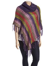Another great find on #zulily! Purple Stripe Fringe Poncho - Plus by Rouge #zulilyfinds
