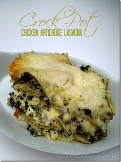 Slow cooker Chicken and Artichoke Lasagna from Miss Information Blog
