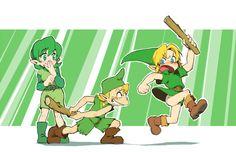 Saria , Mido , and Link