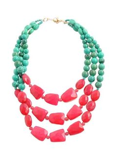 Pink Agate and Turquoise dyed howlite necklace by Barse Jewelry