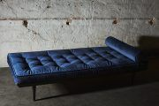 The design was inspired by a daybed in a Parisian apartment, this is a classic elegant piece with a bohemian signature. The daybed can be used as a single statement piece or as part of a traditional seating group, as a sofa or an extra seating place. Nordic Design, Extra Seating, Scandinavian Style, Midnight Blue, Mid-century Modern, Family Room, Cushions, Couch, Interior Design