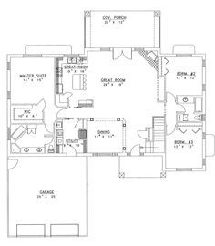 ranch house plans with open floor plan | Chanhassen Ridge Ranch Home Plan 088D-0139 | House Plans and More