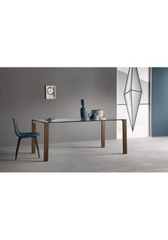 Tavoli design tavolo Tonelli Livingstand wood-top in vetro extrachiaro