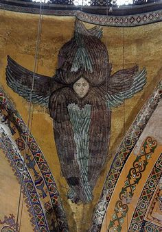 The Seraphim angel mosaic, Hagia Sophia, Istanbul, Turkey Hagia Sophia, Byzantine Art, Byzantine Icons, Religious Images, Religious Art, Ancient Aliens, Ancient Art, Order Of Angels, Seraph Angel