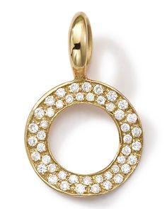 18k Gold Circle Charm with Diamonds - Ippolita