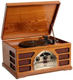 Wooden Retro Turntable 3 Speed AMFM Radio CD and Cassette Player