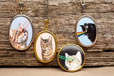 Wearable Artwork Cat Jewelry - They have customized pendants where you can  send in a picture of your cat, and they'll make a pendant out of it, and you can decide if you want colored (or rainbow) lasers shooting out of the kitty's eyes.