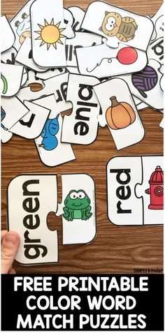 Free Printable Color Word Match Puzzles Preschool Colors, Teaching Colors, Free Preschool, Preschool Classroom, Preschool Learning, Early Learning, Learning English, Color Words Kindergarten, Kindergarten Activities