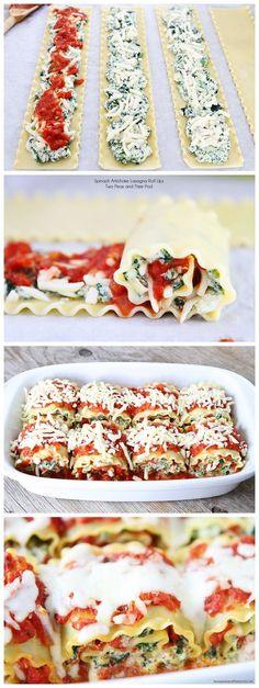 Spinach Artichoke Lasagna Roll Ups