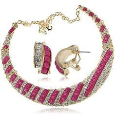 Arinna Ladies Fuschia Stone Clear Rhinestone Necklace Earring Jewelry Set 18K Gold Gp Arinna. $37.98