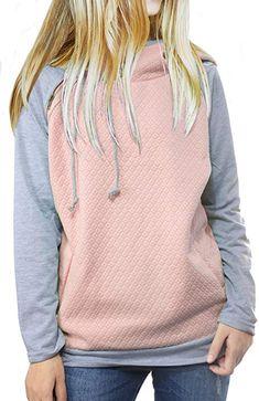 9c5393f04f3 Women s Hoodie Sweatshirt Long Sleeve Color Block Tops Pullover Sweatshirt  (Pink