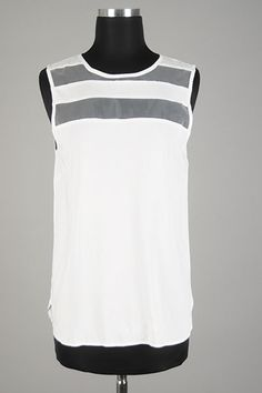 Daisy Rae Boutique - Meshed Trimmed Sleeveless Top- White Tank