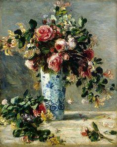 """""""Roses et jasmin dans le vase de Delft"""", peinte en 1881 par l' artiste peintre et Grand Maître Pierre-Auguste Renoir , exposée au musée Hermitage , St Petersbourg"""