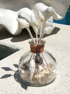 Seashell tipped Reeds give you the beach feel while scenting any room with the fresh scent of Spring Gardenia that will soothe and relax. Bottle had shells and shell pieces for additional beach accent. Oil included will bring out the colors of the shells.    Bottle measures approximately 4 x 4.75.    Please convo for international shipping rates.    Please take a moment to LIKE us at www.facebook.com/seashellgalleria