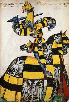 Ancien Armorial équestre de la Toison d'Or. Around 1435. Compilation of equestrian portraits from European knights, in heraldic costumes. http://expositions.bnf.fr/livres/armorial/index.htm