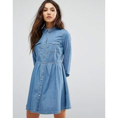 Only Denim Button Skater Dress (3,540 INR) ❤ liked on Polyvore featuring dresses, blue, only dresses, skater dresses, fit and flare dress, blue dress and blue fit-and-flare dresses