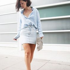 AA Denim Mini Skirt In the color silver (grey) / off white American Apparel Skirts