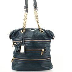 Badgley Mischka Teal Leather Bag