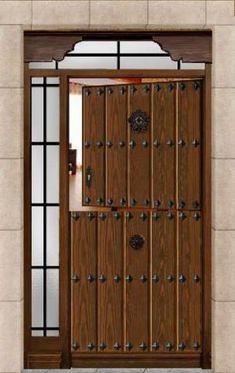Puerta calle dos hojas reja grande color nogal oscuro for Puertas para casas rusticas