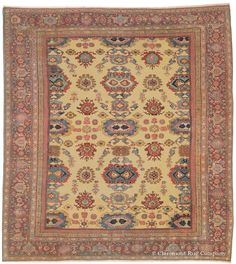 Sultanabad, 10ft 3in x 11ft 6in, Circa 1850.  This dramatic 150-year-old antique oriental  carpet soars to great artistic heights that are rarely equaled in the Persian Sultanabad rug style. Its overscale, all-over design offers a range of fascinating patterns on a beloved golden ground. The color palette of this naturally dyed antique Oriental rug spans the spectrum from ripe strawberry red to pale rose.