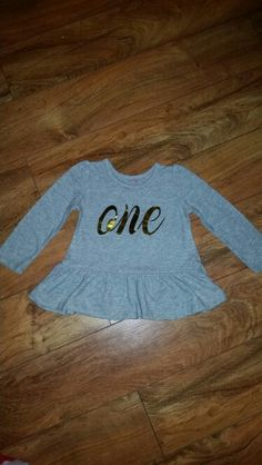 One Birthday Shirt First. Silhouette Cameo HTV Craft Project. Metallic Gold.