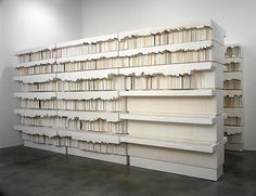 Rachel Whiteread, Untitled (Library) 1999. Dental plaster, polystyrene, fiberboard and steel. Whiteread creates sculptures of negative spaces, making them become something of their own.