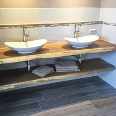 Live Edge Wood, Diy Holz, Contemporary Bathrooms, Wood Turning, Wood Crafts, Diy Crafts, Double Vanity, Woodworking, Rustic
