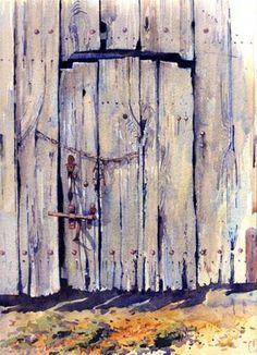 """""""The Barn Door, Next Door"""" - Original Fine Art for Sale - © Nigel Fletcher"""