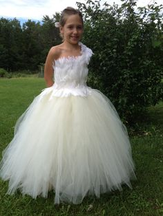 Swan Princess Tutu Dress Feather dress Flower by TheCreatorsTouch, $135.00