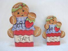 Ginger Loves Jam Gingerbread Fridge Magnet and/or Shelf Sitter by ByBrendasHand Designed by Pamela House