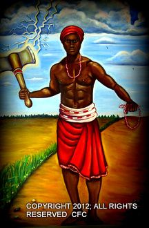 """Shango is the most well-known and revered of all the orishas. He carries a double-headed axe, which represents expeditious and balanced justice. His sacred number is six, and he is the owner of music and the Bata (three double-headed drum). Migene Gonzalez-Wippler depicts Shango as,""""...an incorrigible woman chaser and a lover of food and dance."""""""