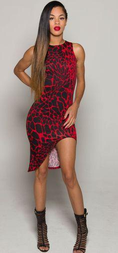 Red & Black iAMMI Asymmetrial Dress xs/s/m