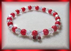 Crystal and Red with Red Dangles Bracelet