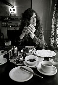 """ Jimmy Page photographed at his Pangbourne boathouse, in the English countryside, between tours in February 1970. """