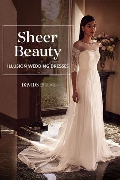 A wedding dress with illusion fabric is an elegant way to show a little skin. Look for mesh accents gracing necklines, waistlines, sleeves, backs, and even soft skirt hems.