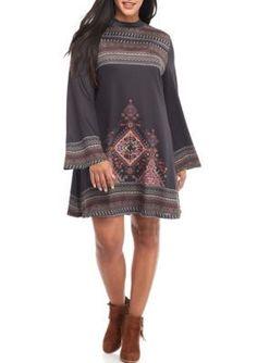 Living Doll Black Multi Plus Size Print Mock Dress